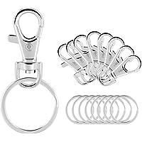 Gimars 20 Set Schlüsselanhänger mit Edelstahl Schlüsselringe, kleine Abnehmbare Drehverschlüsse Schlüsselanhänger Schlüsselclips, Karabiner Klips, Karabinerhacken für Herren und Damen