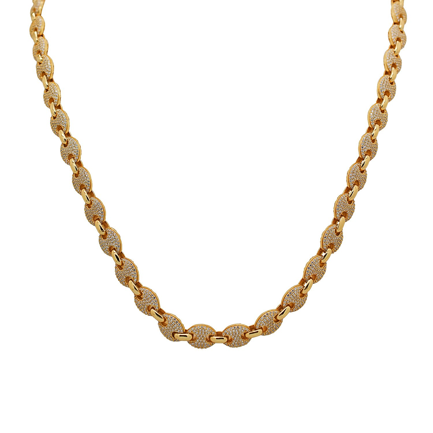 925 Sterling Silver Yellow Gold-Tone Iced Out Hip Hop Bling Cubic Zirconia Gucci-Mariner Bead Link Necklace Chain 30''