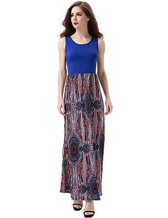 f28184d421bc Aphratti Women s Bohemian Sleeveless Maxi Long Dress with Elastic Waistband  Small Blue Print