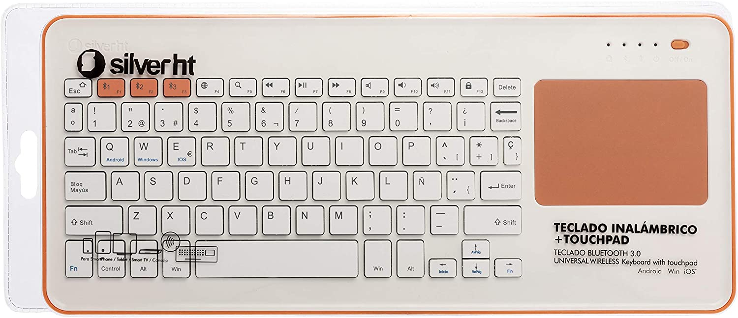 Silver HT - Teclado Inalámbrico con Touchpad para Smart TV, Smartphones, Tablets, iPhone, iPad y Videoconsolas - White + Peach (111943140199): Silver-Ht: Amazon.es: Informática