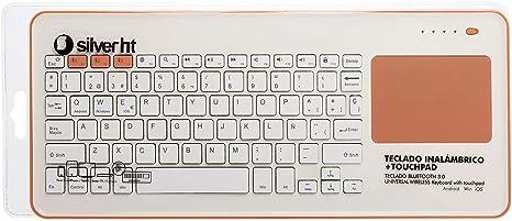 Silver HT - Teclado Inalámbrico con Touchpad para Smart TV, Smartphones, Tablets, iPhone, iPad y Videoconsolas - White + Peach (111943140199): Silver-Ht: Amazon.es: Informática