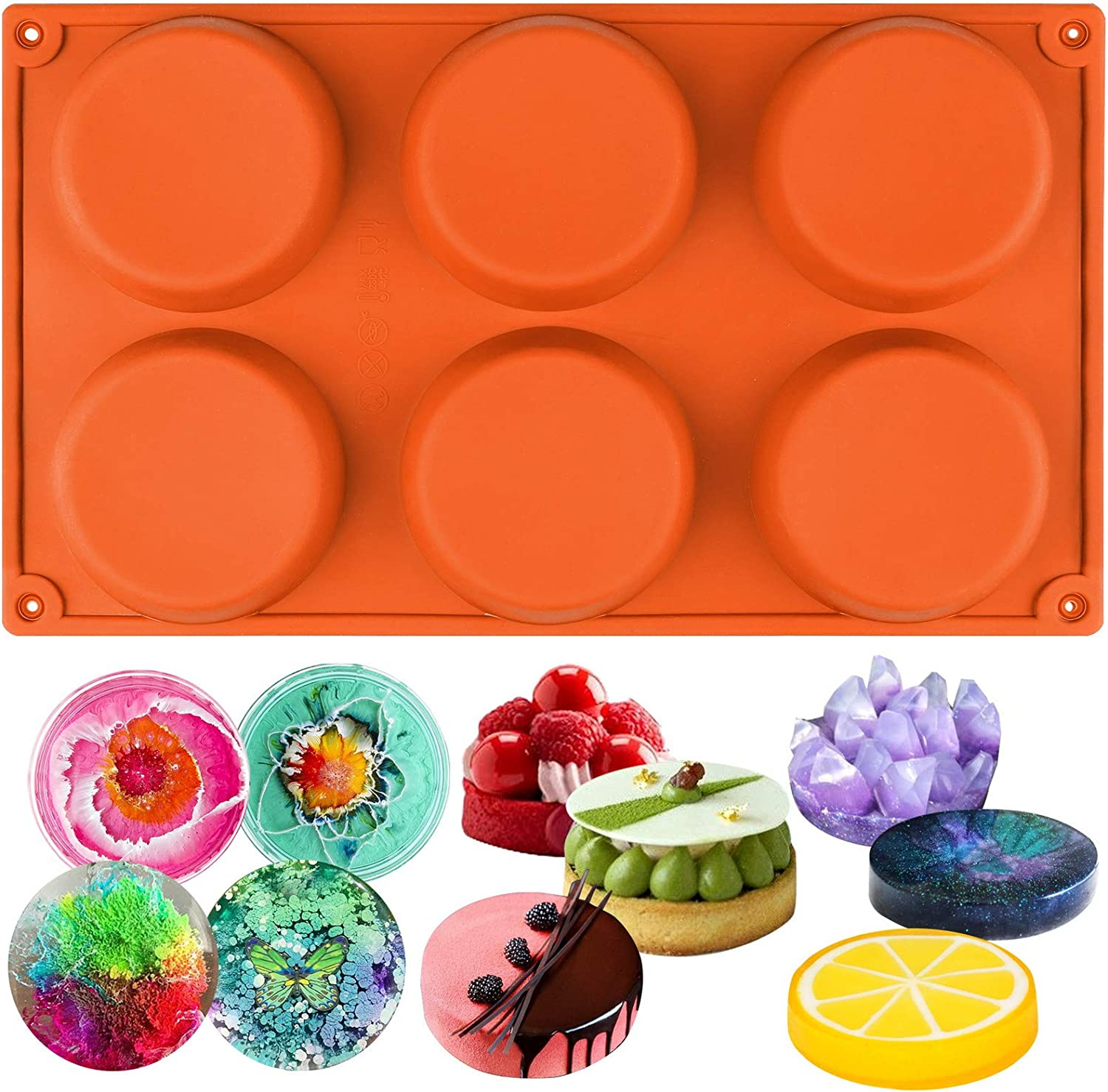 Resin Coaster Custard Webake Silicone Molds for 3 Inch and 4 Inch Round Disc Pan for Cake Tart Bun Muffin Top 6 Cavity Red Set of 2