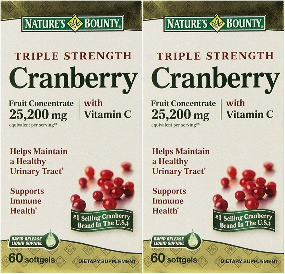 Natures Bounty Triple Strength Cranberry 25,200mg with Vitamin C, 120 Softgels (2 X 60 Count Bottles) by Nature's Bounty B00TYMVY46