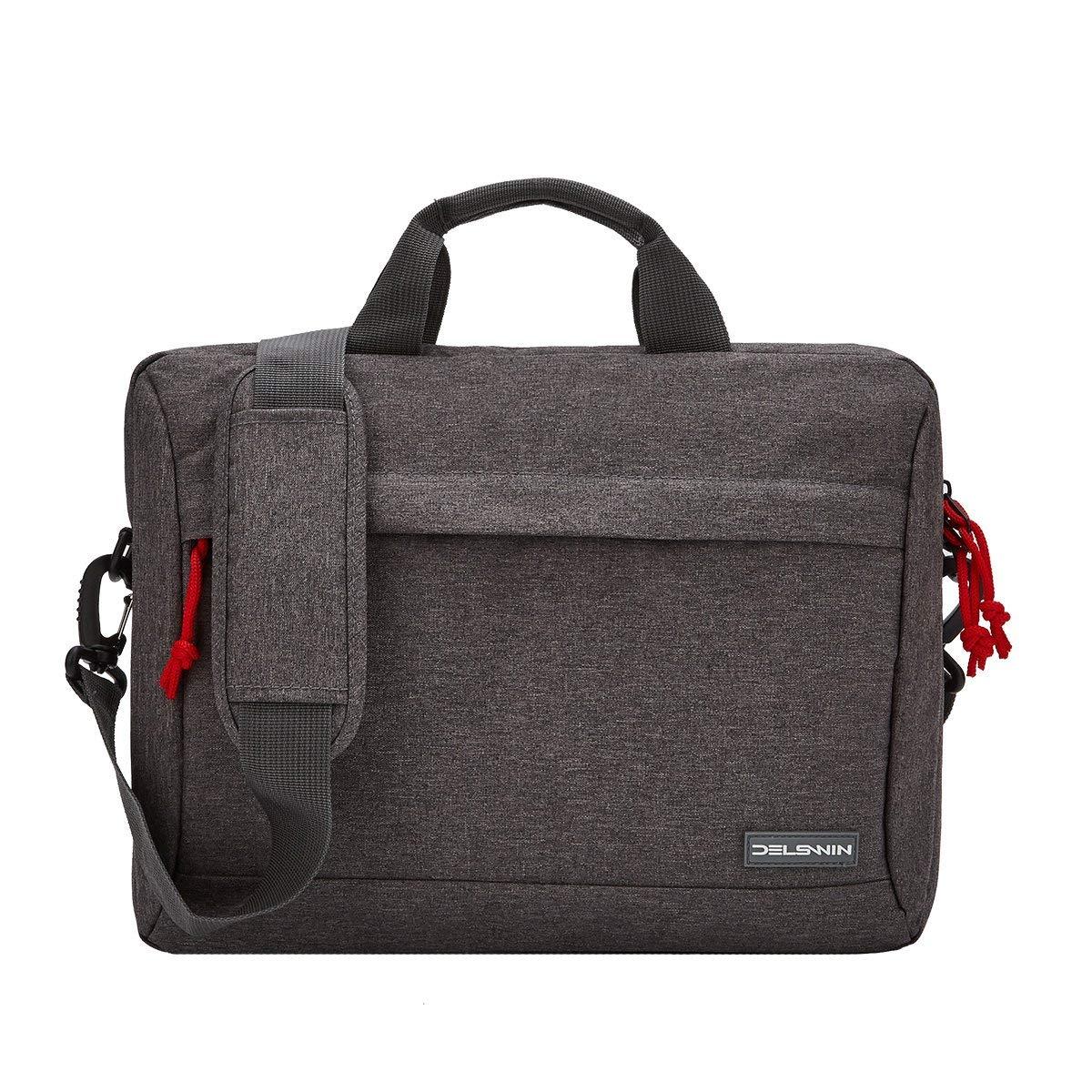 DELSWIN 14 Inches Laptop Briefcase Sleeve - Lightweight Laptop Shoulder Messenger Bag Business Carrying Handbag for School/Travel/Women/Men (14.1, Gray)