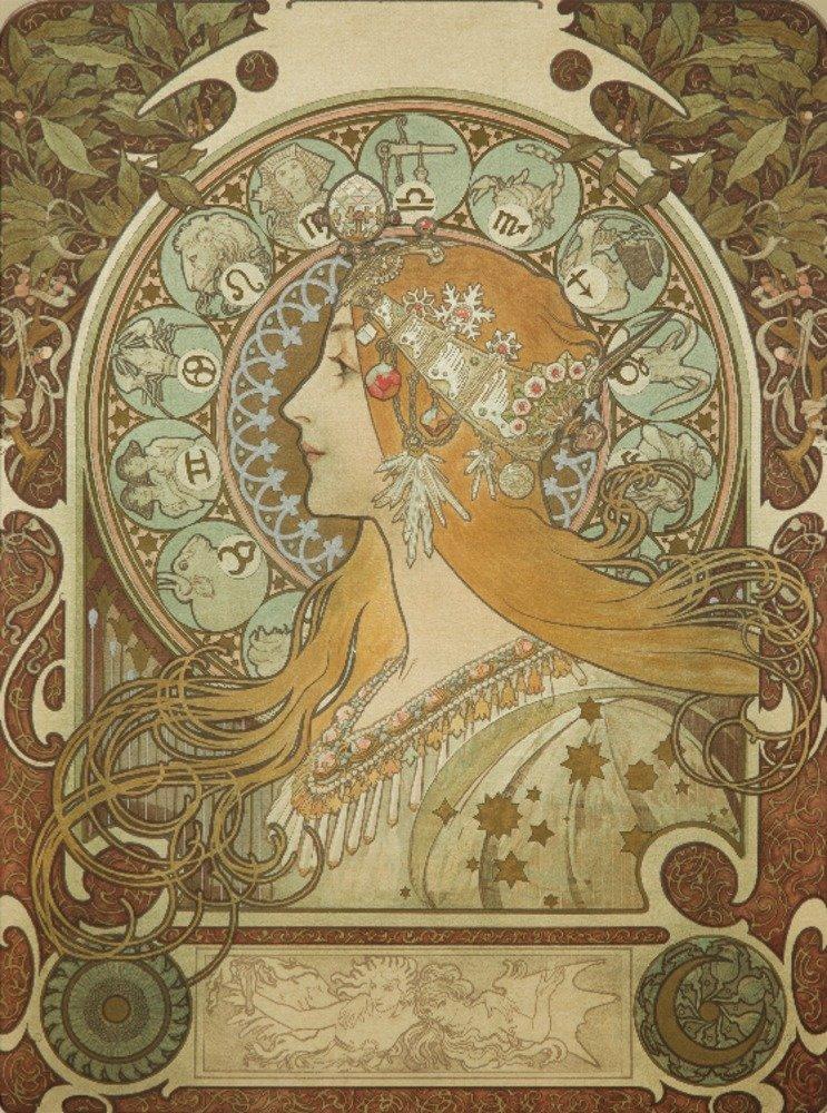 Zodiac ( onシルク)ヴィンテージポスター(アーティスト: Mucha、Alphonse )フランスC。1896 12 x 18 Art Print LANT-60844-12x18 B017Z6Y9EY 12 x 18 Art Print