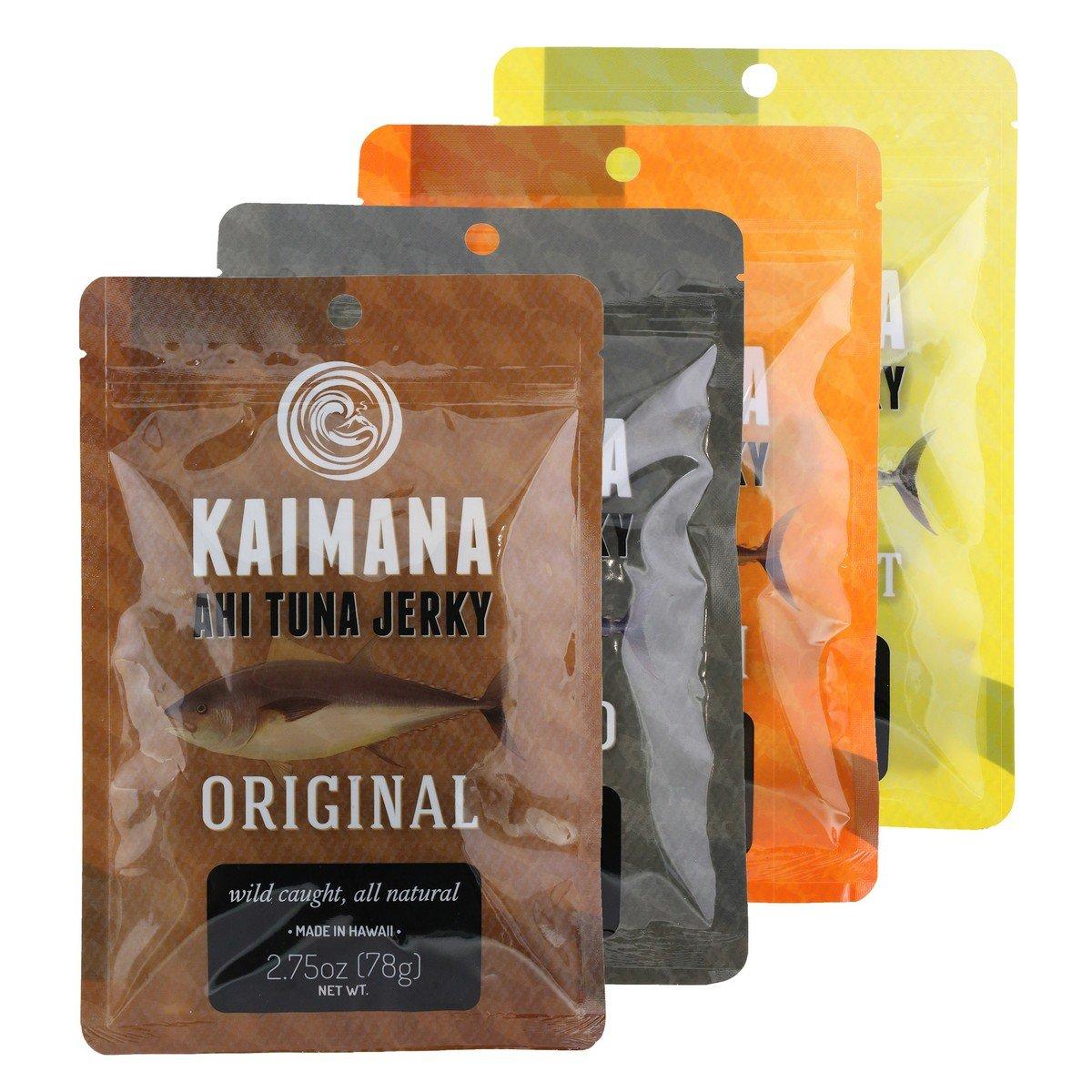 Kaimana Jerky - Ahi Tuna Jerky Variety Bundle 4 pk - Original, Teriyaki, Peppered and Lemon Salt Tuna Jerky flavors. All Natural & Wild Caught Tuna Jerky. Made in USA