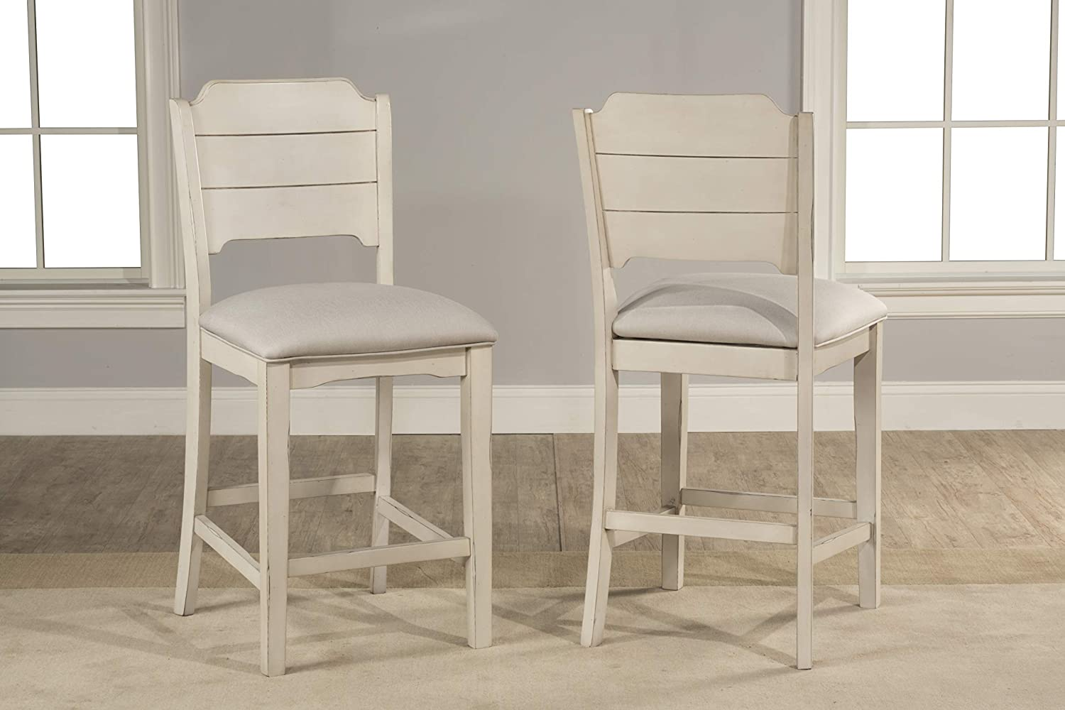 Hillsdale Furniture 4542-822 Hillsdale Clarion Open Back Height, Set of 2, Sea White Swivel Counter Stool