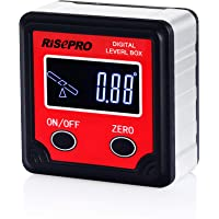 risepro magnético Digital de nivel de burbuja ángulo calibre transportador de ángulos inclinómetro bisel caja &