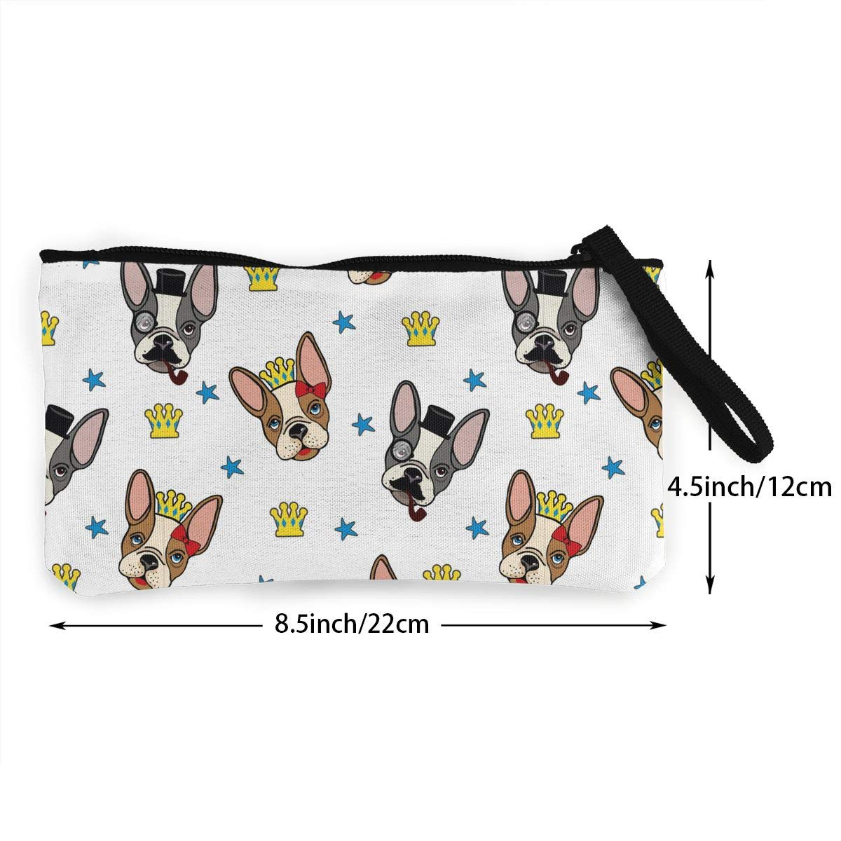 Cellphone Clutch Purse With Wrist Strap French Bulldog5 Pattern Zipper Small Purse Wallets Womens Canvas Coin Wallet