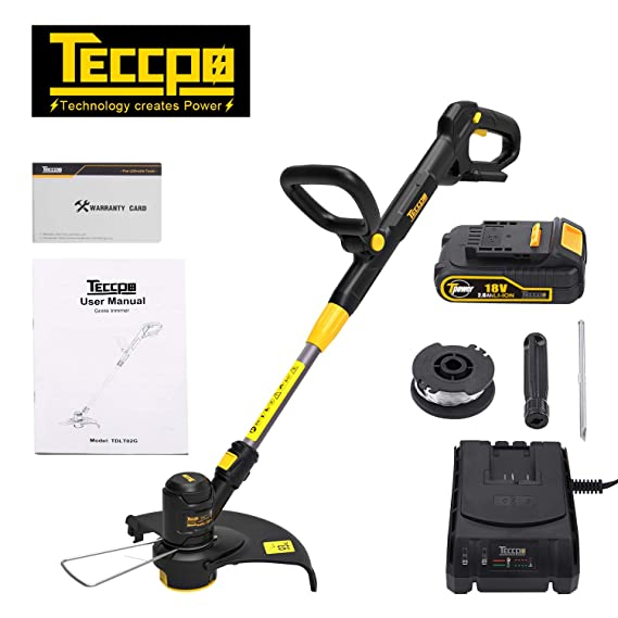 TECCPO Cortabordes, 18V 2.0Ah Cortacésped sin Cable (2X Bobina ...