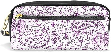 FANTAZIO - Estuche para lápices, color violeta: Amazon.es: Oficina y papelería