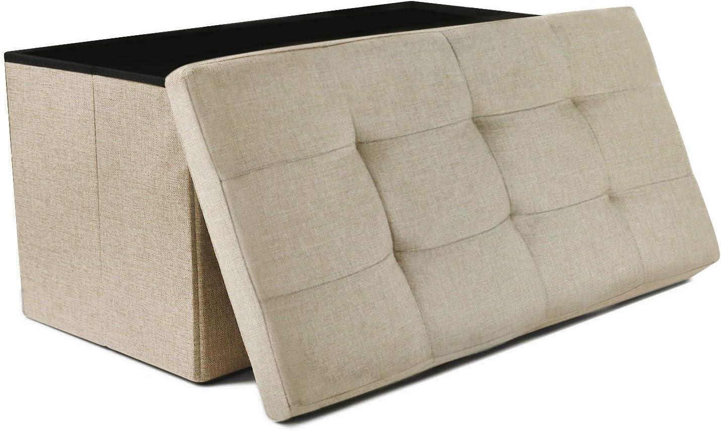 NISUNS OT03 30 Inch Linen Fabric Foldable Storage Bench Ottoman, Beige