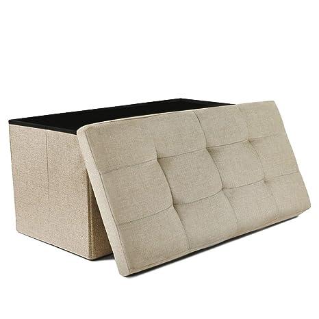 Cool Nisuns Ot03 30 Inch Linen Fabric Foldable Storage Bench Ottoman Beige Dailytribune Chair Design For Home Dailytribuneorg