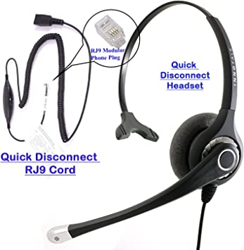 Amazon Com Rj9 Headset Best Sound Phone Headset Cisco Avaya Panasonic Virtual Compatibility Rj9 Quick Disconnect Headset Cord Compatible With Plantronics Qd Office Products