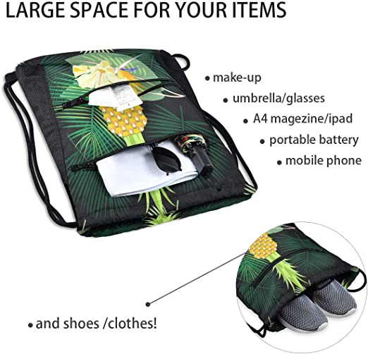 Hippie Holiday Beach Backpack Unisex Everyday Bag Nature Carryall Backpack Large Funky Yoga Bag Tropical Leaves Drawstring Bag For Gym