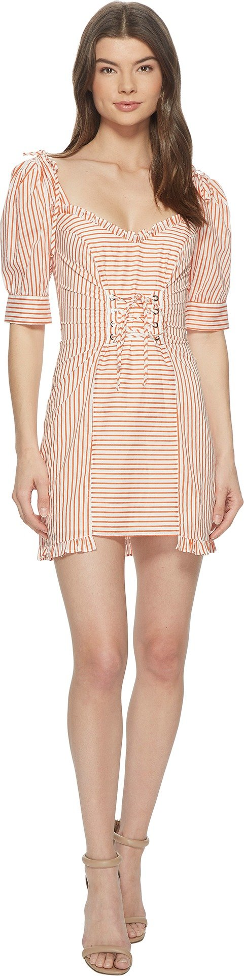 For Love and Lemons Women's Selma Lace-Up Mini Dress Copper Stripe Medium