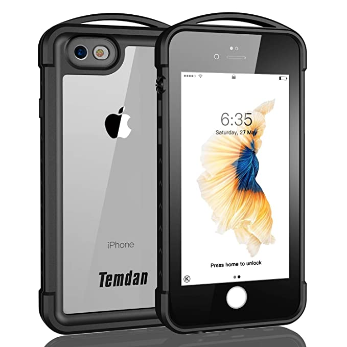 sports shoes b332d 99c22 iPhone 6 /6s Waterproof Case, Temdan Supreme Series iPhone 6/6s Waterproof  Case with Carabiner Outdoor Rugged Shockproof Case for iPhone 6/6s -Black  ...