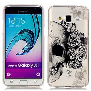 Coque pour Samsung Galaxy J3 (2016), Etui pour Samsung Galaxy J3 (2016), Cozy Hut® Transparente Ultra Mince Souple TPU Silicone Avec Skull Flower Dessin Etui Housse de Protection Coque Étui Case Cover pour Samsung Galaxy J3 (2016) J310 - Skull Flower