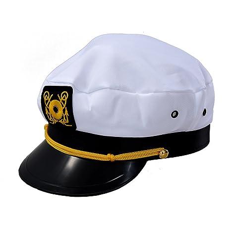 SODIAL (R) Cappello da marinaio Berretto da capitano uniforme Cotone Colore  Bianco beace19f9c40