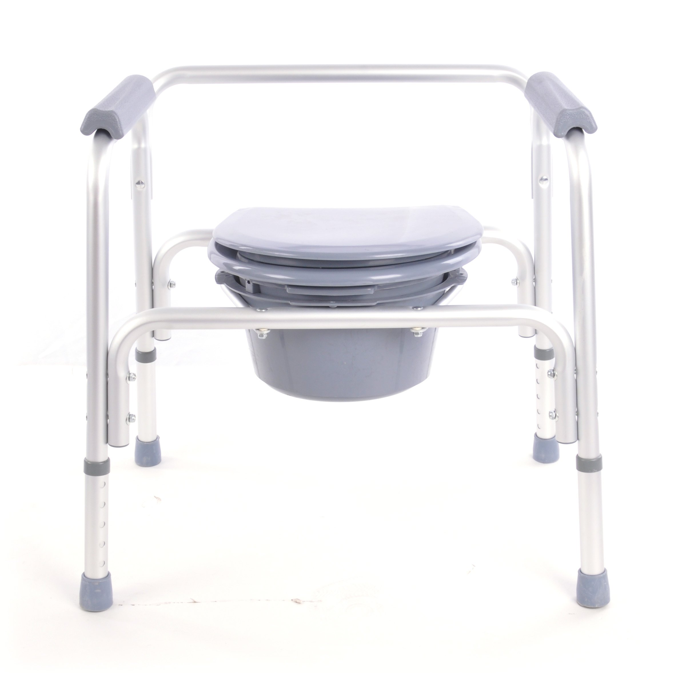 Benovate Economic Portable Toilet, Bedside Commode Chair, Heavy-Duty Steel Commode Toilet Chair, Medical Commode with with Bucket and Splash Guard, Adjustable Height