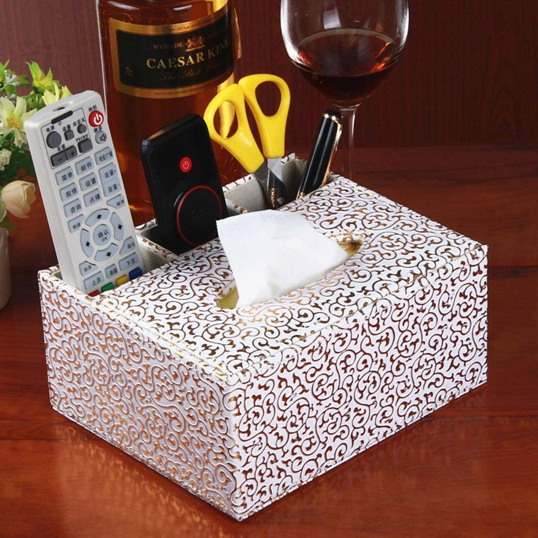 XIAMEND Creative Home Multi-Purpose Trays European-Style Tissue Boxes Room Bedside Storage (Color : Golden Carved) by XIAMEND