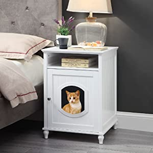 unipaws Designer Cat Washroom Storage Bench, Litter Box Cover with Sturdy Wooden Structure, Spacious Storage, Easy Assembly, Fit Most of Litter Box