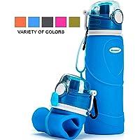 Kemier Botellas de Agua de Silicona Plegables–750ML,Calidad Médica