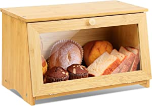 HOMEKOKO Wood Bread Box for Kitchen Counter, Single Layer Bamboo Large Capacity Food Storage Bin