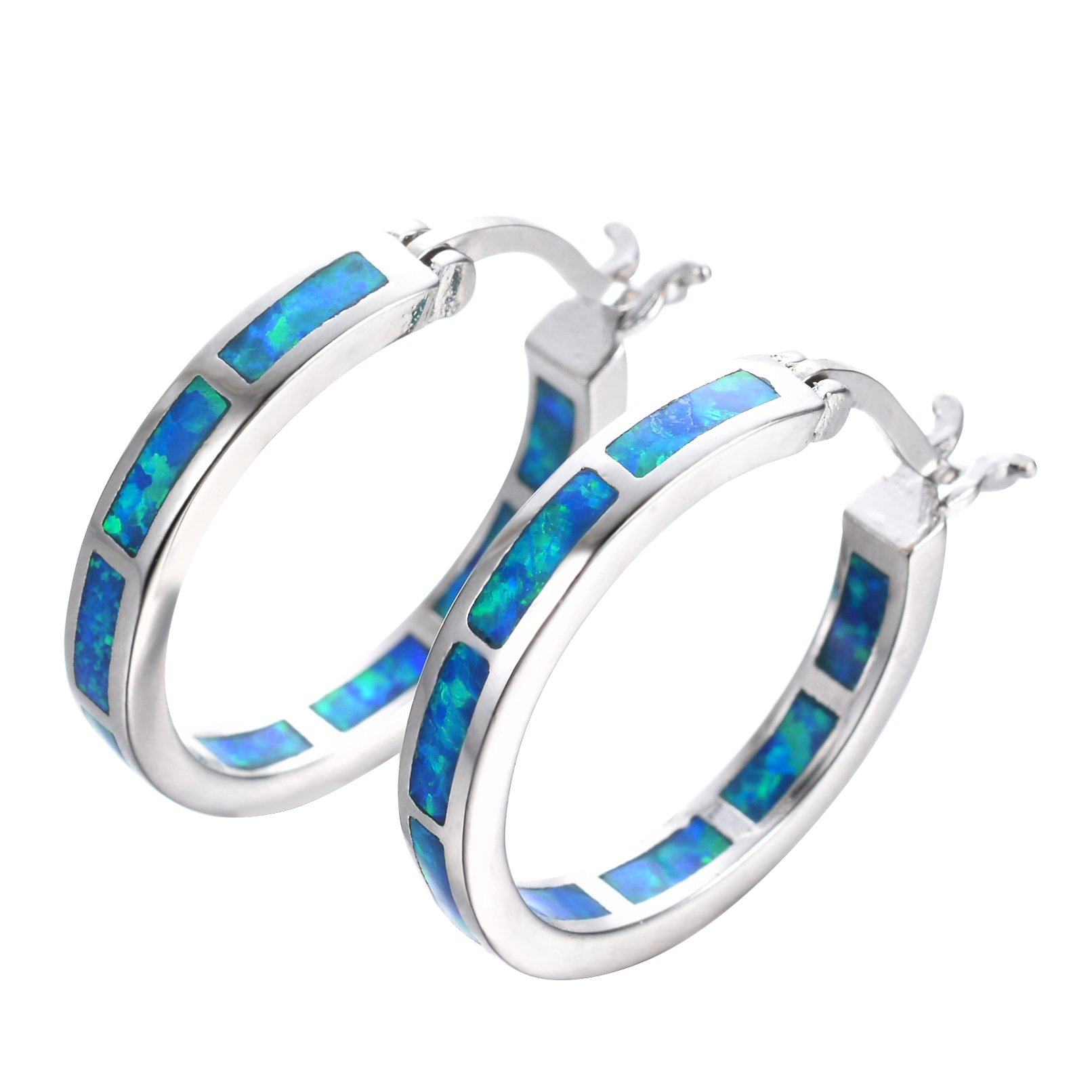 925 Sterling Silver Women's Hoop Earring,White and Blue Earring For You choose Perfect Match (Blue, NO Stone)