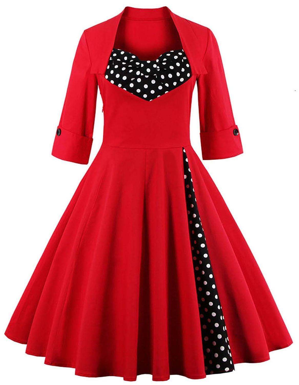 Greenis Women Dress Party Swing Rockabilly Fitted A Line Plus Size