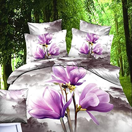 Flower Bedding, Oil Painting 3d Bedding T31 Purple Floral Duvet Cover Queen  Luxury Wedding Set