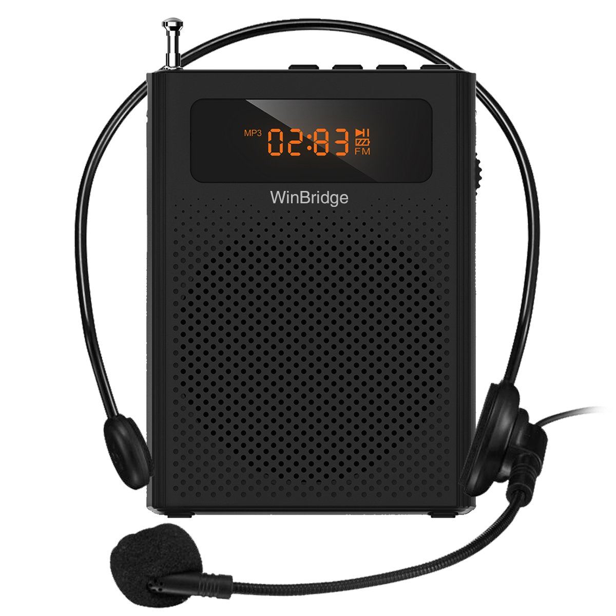 Mini Voice Amplifier for Teachers with Clip Headset Microphone Support Recording FM Radio Music Play WB005 WinBridge