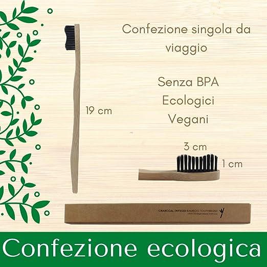 senza BPA confezione sostenibile TheBDM Spazzolini da denti in bamboo naturale ecologico biodegradabile antimuffa setole in carbone vegetale Setole Dure vegan