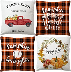 7COLORROOM Set of 4 Autumn Pillow Covers Farmhouse Buffalo Check Plaid with Vintage Truck Pumpkin Cushion Cover Thanksgiving Day Home Decor Pillowcases 18