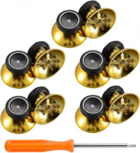 eXtremeRate 10 pcs Rubberized Chrome Thumbsticks Analog Sticks Buttons Replacement Parts for Xbox One Xbox One Elite Xbox One X Xbox One S Controller (Chrome Gold)