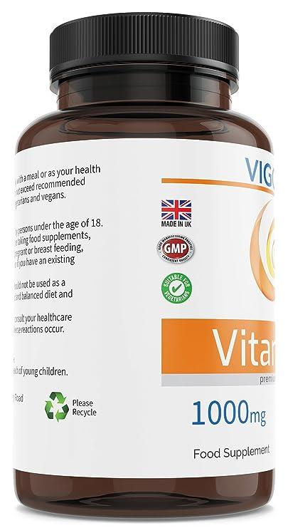 Vitamina C 1000 mg 180 comprimidos fáciles de tragar - Suministro para 6 meses - Sistema inmunológico - Metabolismo energético - Antioxidante - Salud de ...