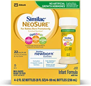 Similac NeoSure Infant Formula with Iron, For Babies Born Prematurely, Ready-to-Feed bottles, 2 fl ounces (48 bottles)