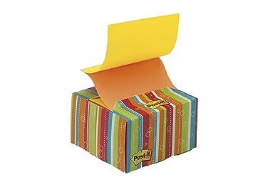 Post-it Z-notes - Notas autoadhesivas (76 x 76 mm), diseño con dispensador a rayas, color amarillo y naranja: Amazon.es: Oficina y papelería