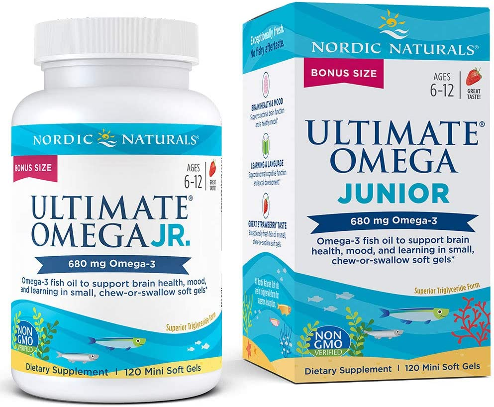 Nordic Naturals Ultimate Omega Junior - Support for a Healthy Heart, Brain and Mood in Developing Children, 120 Count, Strawberry