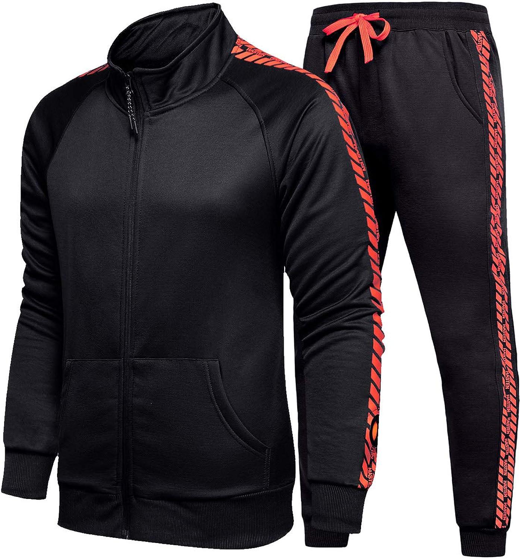 Men/'s Casual Running Zip TrackSuit Jogging Sports Gym Jacket Set Top Pants Black