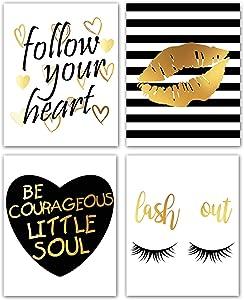 Inspirational Artwork Gold Glitter Lips Eyelash Picture Wall Art Paintings Set of 4 Motivational Prints for Dressing room Living Room Bedroom Women Bathroom Home Decor Frameless (8x10)