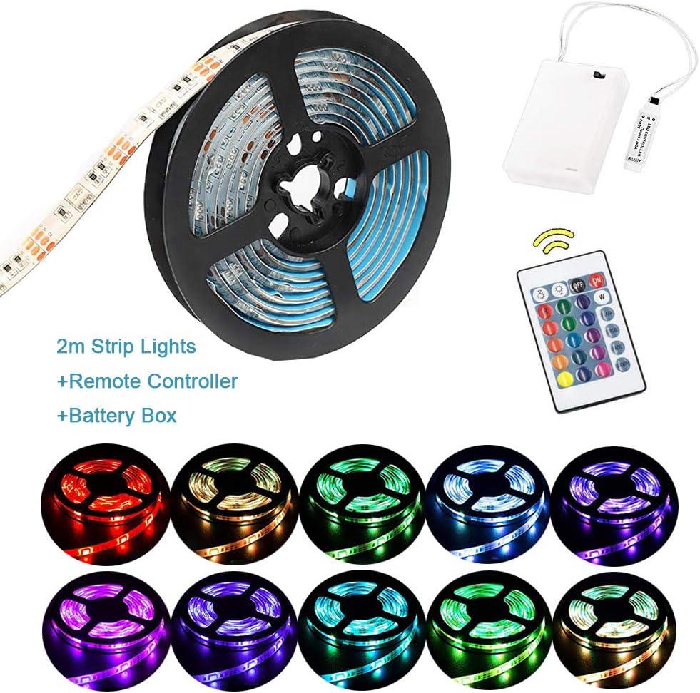 Luces de tira LED RGB de 2 m Luces de tira a batería a prueba de agua Luces de cuerda flexible, Luces de tira de cambio de color con caja de suministro