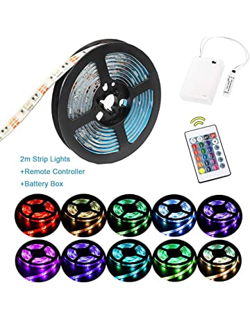 Luces de tira LED RGB de 2 m Luces de tira a batería a prueba de
