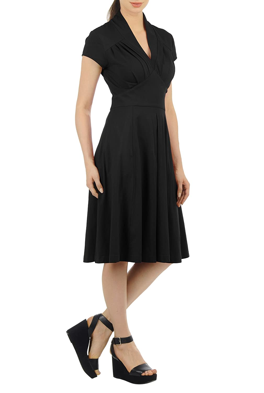 1940s Tea Dresses, Mature, Mrs. Long Sleeve Dresses eShakti Womens Feminine pleated cotton knit dress $49.95 AT vintagedancer.com
