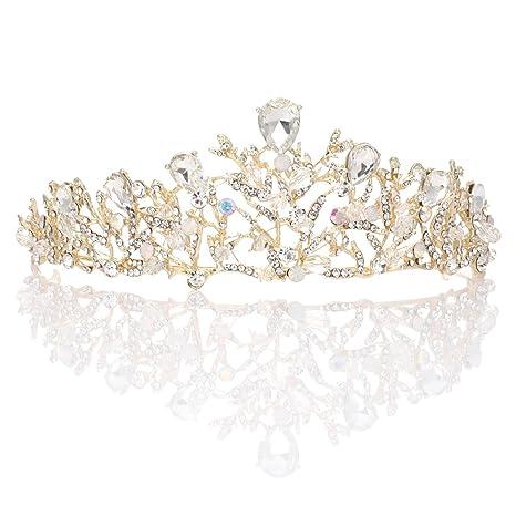 base dorée, cristal blanc + perle Femme Diadèmes de mariée en cristal pour cheveux de princesse et couronne de mariage