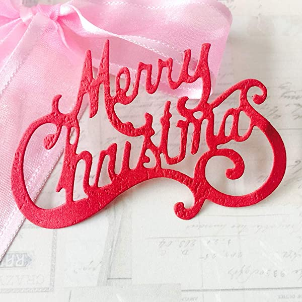 Amazon Com Christmas Dies For Card Making Merry Christmas Die Cuts Metal Cutting Dies Embossing Dies For Scrapbooking Diy Album Paper Cards Art Craft Decoration 2 96x2 0inch Kitchen Dining
