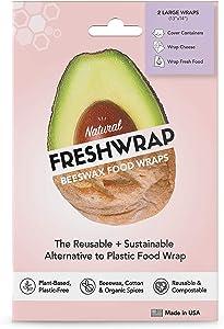 THE FRESHGLOW CO FRESHWRAP Natural Beeswax Food Wrap, 2 Large Wraps Set, Reusable Eco-Friendly Wraps, Keeps Food Fresh