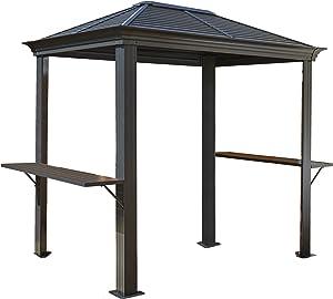 Sojag 5' x 8' Mykonos Hardtop Grill Gazebo with Shelving Outdoor Sun Shelter, Dark Grey