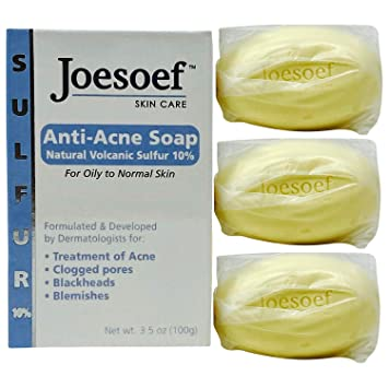 Amazon Com Joesoef Anti Acne Soap Natural Volcanic Sulfur 10 For Oily To Normal Skin 3 5 Ounces Pack Of 3 Facial Soaps Beauty