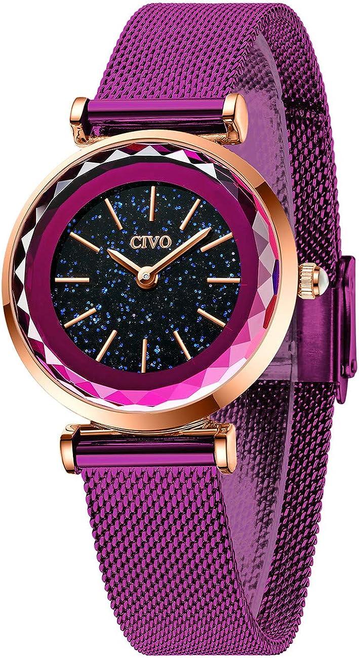 CIVO Relojes Mujer Oro Rosa Ultra Delgado Reloj de Pulsera para Mujer Impermeable de Malla de Acero Inoxidable Vestido Elegante Diseñador Relojes de Cielo Estrellado para Mujer